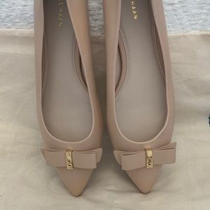 Cole Haan Shoes - Cole Haan Leather Nude Elsie Bow Skimmer Flats